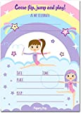 Papery Pop Gymnastics Birthday Invitations with Envelopes (15 Count) - Kids Birthday Party Invitations for Girls - Bounce House - Trampoline