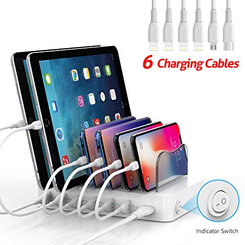 SooPii 50W/10A 6-Port USB Charging Station Organizer for Multiple Devices, 6 Short Mixed Cables Included, for Phones, Tablets, and Other Electronics, White