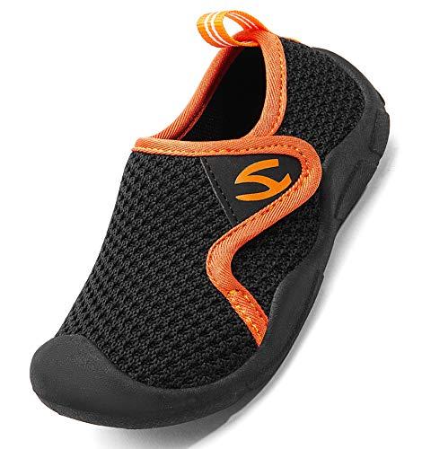 INMINPIN Zapatillas de Estar por Casa para Niños Zapatos de Interior de Punto Infantil Niña Niño Cómodos Suave Antideslizante Zapatos de Deporte,Negro,24EU.