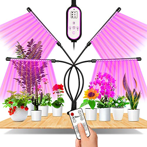 Lampe de Plante, EWEIMA 80 LEDs Lampe de Croissance à 360° Éclairage Horticole Avec, Lampe Pour Plante 4 Têtes Lampe Croissance Spectre Complet Avec Chronométrage AUTO - ON / OFF 4H / 8H / 12H