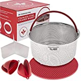 Tillabee Steamer Basket for Instant Pot Accessories 6 Qt Stainless Steel Insert Strainer fits 6Qt, 8Qt Insta Pot/Other Pressure Cookers, with Silicone Handle, Divider, Mat, Mini Mitts