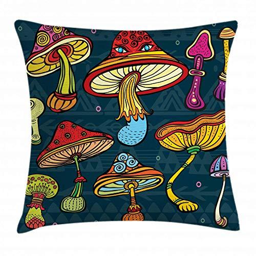 WH-CLA Couch Cushions Setas De Hongos Ornamentados Garabatos Remolinos Ojos Psicodélico Botánica Y Acento De Crecimiento Decoración del Hogar Cremallera Oficina Acogedor Único Funda