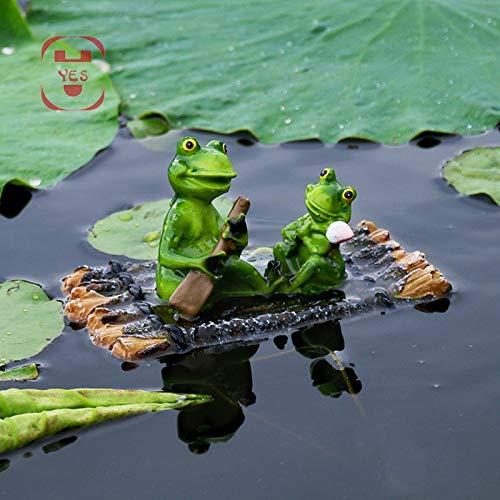 JunziWing Harz Garten Dekorationen, Teich Harz schwimmende Bambus Floß Frosch Statue, im Freien Gartenteich Dekoration nach Hause Aquarium Garten Dekoration Schreibtisch Dekoration