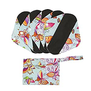 Hi Sprout Bamboo-charcoal Reusable Sanitary Pads, Cloth Mama Menstrual Pads, Washable Panty Liners