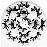 7 coppie nero artificiale ciglia estensioni riutilizzabili Faux Mink Fluffy Lungo Natura Crisscross Wispies trucco morbido Lashes Stile C712