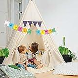 Carpa de Juegos para niños Tipi Carpa para niños Fabricada con Materiales 100% Naturales; Tienda India para habitación de niños Hecha de algodón y Madera para Interiores y Exteriores (Beige)