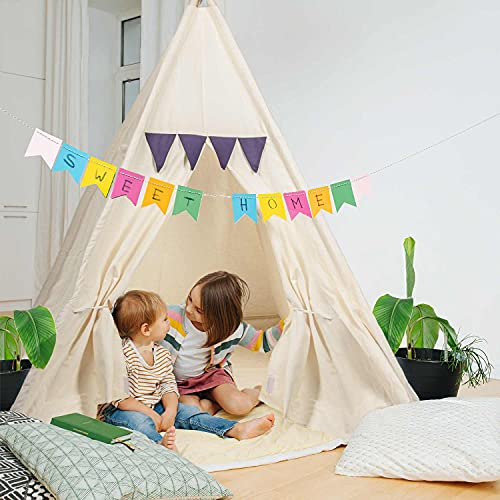 Kinder-Spielzelt Tipi Kinderzelt aus 100% Naturmaterialien; Kinderzimmer Indianer-Zelt aus Baumwolle & Holz für Drinnen & Draußen (Beige)
