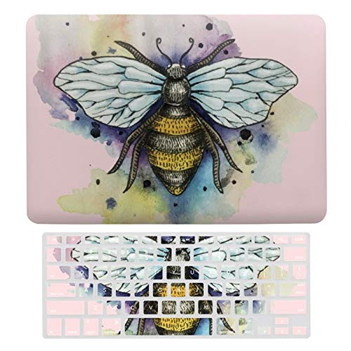 Plastic Hard Shell Case & Keyboard Cover Compatible with MacBook Air 13 (Models: A1466、A1369), Cute Bee And Rainbow Wash Laptop Keyboard Membrane Protective Shell Set