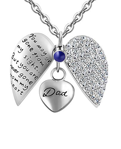 KnSam Urn Necklace for Women Men No Longer by My Side,Forever in My Heart Family Ash Cremation Pendant