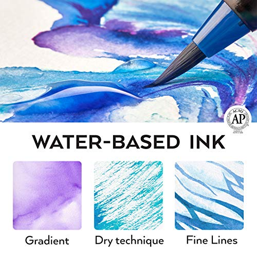 Arteza Real Brush Pens, 48 Colors for Watercolor Painting with Flexible Nylon Brush Tips, Paint Markers for Coloring, Calligraphy, Drawing with Water Brush, Art Supplies for Artists and Beginners Photo #7