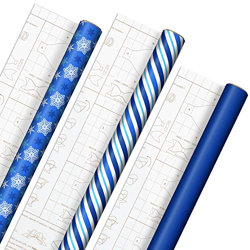 Hallmark Holiday Wrapping Paper with DIY Bow Templates on Reverse (3 Rolls: 120 sq. ft. ttl) Blue and White Snowflakes, Stripes, Solid Blue for Christmas, Hanukkah, Weddings, Birthdays