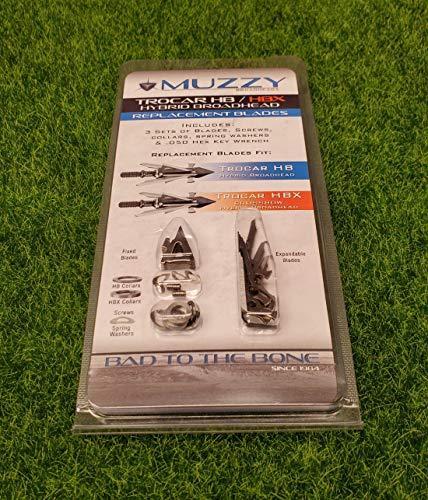 Muzzy 390 Bowhunting Trocar HB & HBX Hybrid Broadhead Replacement Blades 3 Sets of Blades Screws