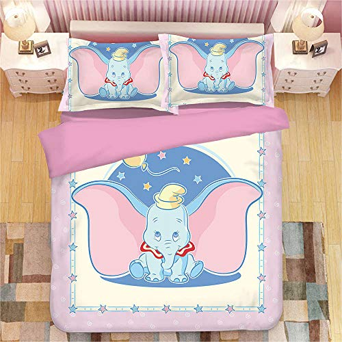 Avvsovs 3 Piece Duvet Cover Set Double 100% Cotton Cartoon animal elephant Bedding Set 1 Duvet Cover with Hidden Zipper Ties 2 Pillow Cases Hotel Quality Soft Breathable Comfortable Durable Warm 200