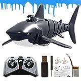 Ganmaov 2.4G con simulación de luz Control Remoto Juguete de Barco de Tiburones, Juguete de baño de Piscina Negro