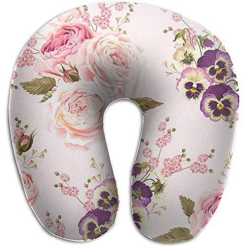 Forma De U Almohada,Almohada para Cuello con Funda Lavable De Rosas Y