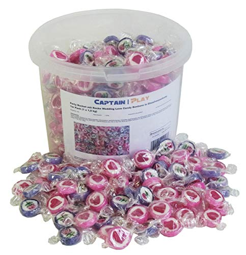 Party Bucket mit Rocks Wedding Love Candy Bonbons in Einzelverpackung, 1er Pack (1 x 1,5 kg)