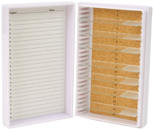 Heathrow Scientific HD15989E White Cork Lined 25 Place Microscope Slide Box, 5.5' Length x 3.5' Width x 1.24' Height