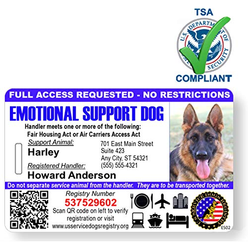 Just 4 Paws Custom Holographic QR Code Emotional Support Dog ID Card with Registration to Service Dogs Registry with Strap - Landscape Style (Emotional Support Dog Photo ID)
