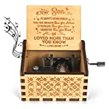 Kafete Music Box Hand Crank Engraved Musical Box-U R My Sunshine Mechanism Antique Vintage Personalizable Gift to My Son from Mom