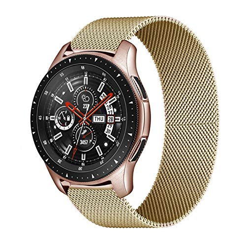 WSGGFA 20mm 22mm Correa para Samsung Galaxy Watch 46mm 42mm Gear S3 Frontier Watch 3 45mm 41mm Active 2 para Huawei GT 2 Amazfit BIP Banda (Band Color : Gold, Band Width : 22mm)