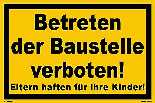 Kleberio® Warn Schild 30 x 20 cm - Betreten der Baustelle verboten! - Baustellenschild stabile Aluminiumverbundplatte