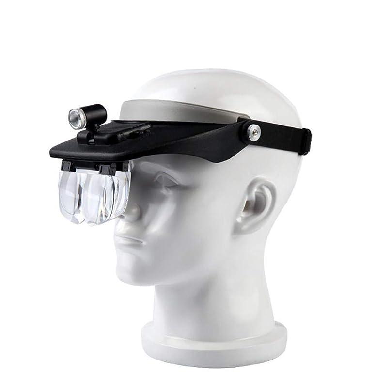 出会い地下データムLEDライト付きヘッドバンド拡大鏡ハンズフリー読書拡大鏡メガネ2個のLEDライト付き拡大鏡5個読書用の取り外し可能なレンズジュエリールーペ電子修理