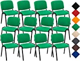 CLP 12er Set Besucherstuhl Ken Stoff I Stapelstuhl Mit Robustem Metallgestell I Polsterstuhl Mit Rückenlehne Grün