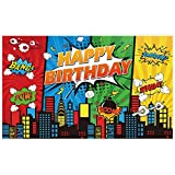Allenjoy 5x3ft Superhero Theme Backdrop for Children Boys Kids Super Heros Comic Skyline 1st Happy Birthday Party Supplies Decorations Baby Shower Home Wall Decor Favors Banner Photography Background