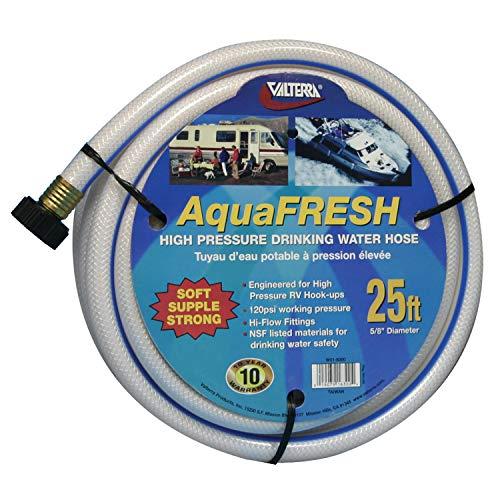 """Valterra W01-6300 AquaFresh High Pressure Drinking Water Hose - 5/8"""" x 25', White"""