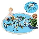 BELLESTYLE Kinderspielzeug-Aufbewahrungsbeutel, Baumwoll-Segeltuch-bewegliches großes einfaches aufgeräumtes Spiel u. Aufbewahrungs-Matte - schnellere Aufräumung! (Hellblau, 150cm)