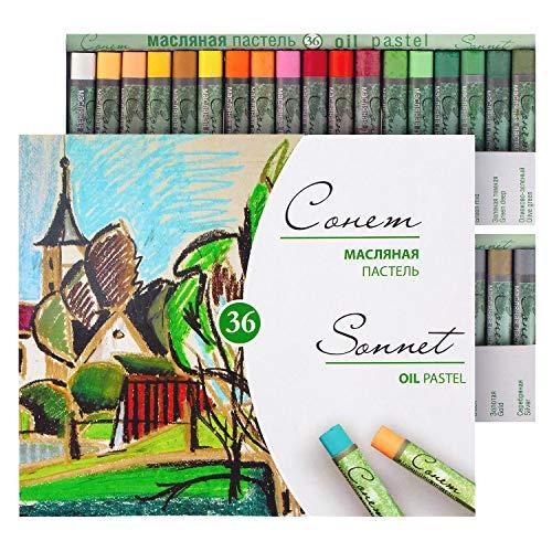 Sonnet Studio 36 Pastels À L'huile | Se Fixe Sans Fixateur | Pour Papier De Couleur, Carton, Bois, Céramique, Toile | Fabriqué En Russie Par Neva Palette