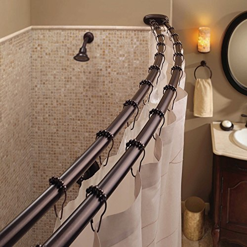 Lotus Analin Double Curved Shower Curtain Rod Adjustable Crescent Fixture, Oil Rubbed Bronze