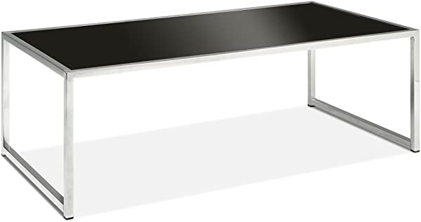 AVE SIX Yield Modern Coffee Table With Chromed Steel Base Black Glass Top