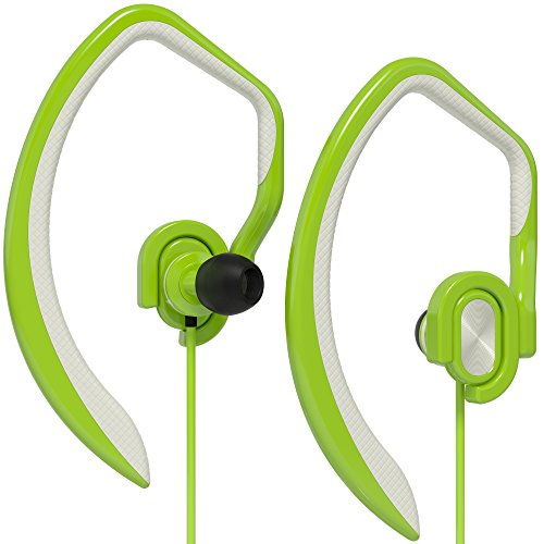 Artix Sport Workout Earbuds Headphones XJR, Built-in Microphone in-Ear Stereo Lightweight Wired Sweat-Proof Earphones, for Work, Travel, Running, Exercise, Works w/Smartphones, iPhone Android (Green)