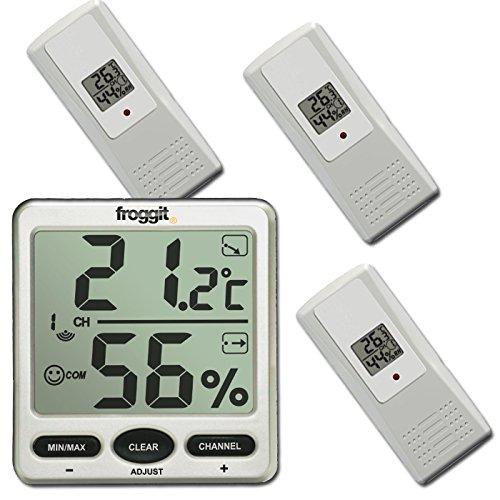 froggit Funk Thermometer FT007 mit 3 Aussensensoren XXL Display Hygrometer