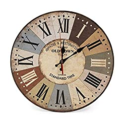 Brall Retro Wooden 10-inch Quartz Silent Battery-Powered Wall Clock Suitable for Bedroom, Living Room Kitchen, Learning and Other Clocks