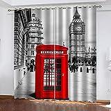 LWXBJX Opacas Cortinas Dormitorio - Cabina de teléfono roja de Londres - Impresión 3D Aislantes de Frío y Calor 90% Opacas Cortinas - 300 x 270 cm - Salon Cocina Habitacion Niño Moderna Decorativa