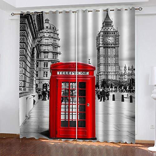 LWXBJX Cortinas Opacas de Dormitorio y Salón Ventanas - Cabina telefónica roja de Londres - Impresión 3D Aislantes de Frío y Calor 90% Opacas Cortinas - 200 x 160 cm - Salon Cocina Habitacion Niño Mo
