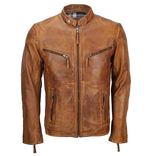 Xposed Chaqueta de motociclista para hombre, de cuero suave, estilo vintage, con cremallera