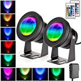 SENWELL-KA 2 Pack IP68 Pond Lights Underwater Lights Led Submersible Lights Spotlight RGB 10W 12V with RF Remote Control Suitable for Swimming Pool Garden Fountain Rockery Lawn