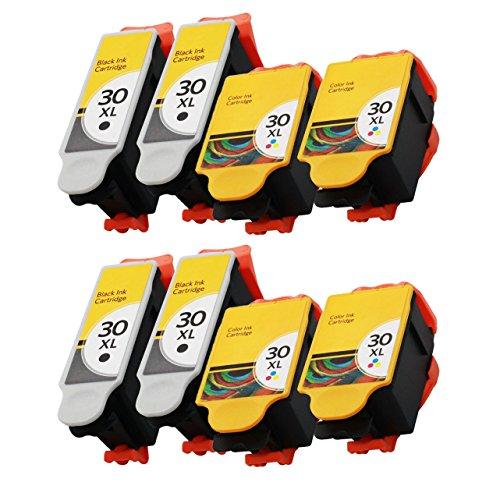 RIGHTINK Printer Ink Cartridges for Kodak 30 xl 8 Pack(Black Tri-color) Combo Set for Hero 3.1 Hero 4.2 Hero 5.1