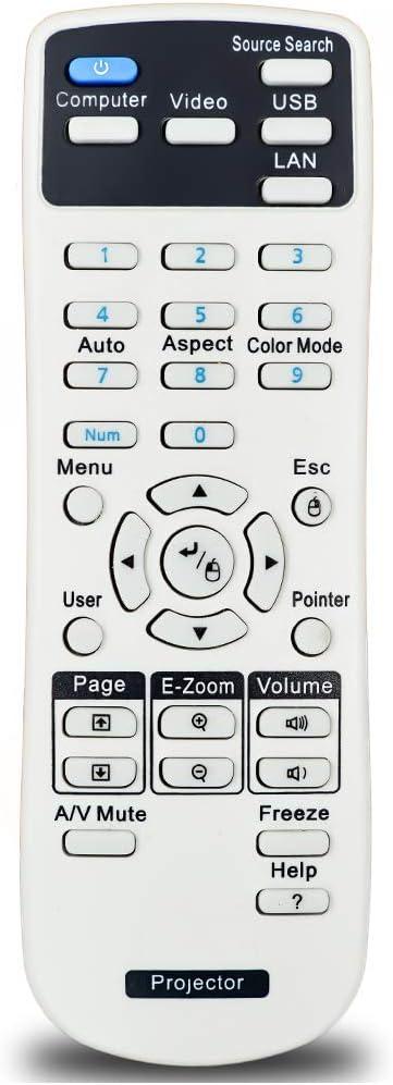 InTeching 1456641 Projector Remote Control for Epson EX21, EX30, EX31, EX50, EX51, EX71, PowerLite 400W/ 410W/ 78/822+/ 822P/ 83+/ 83C/ 83V+/ S6