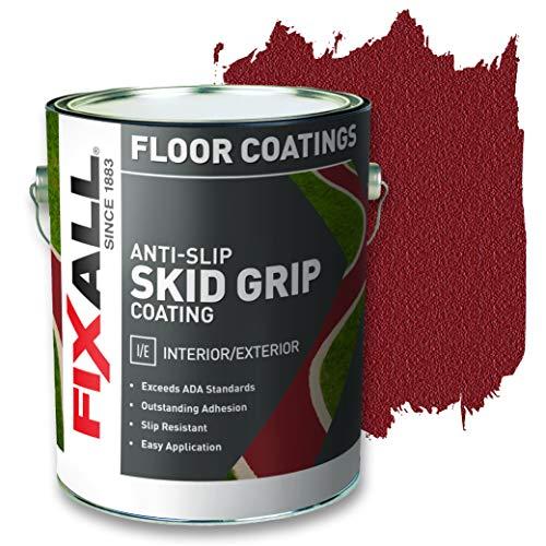 FIXALL Skid Grip Anti-Slip Paint, 100% Acrylic Skid-Resistant Textured Coating - F06525 - 1 Gallon, Color: Crimson