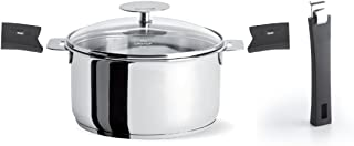 Cristel C14QKPAMAN Mutine Set with 1 qt Saucepan with Lid, long handle and 2 grips (5-Piece), Silver