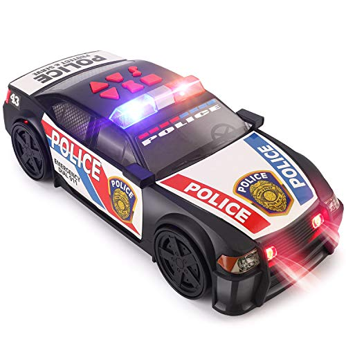 Liberty Imports Motorized Police Cruiser Kids Toy Cop Car Electric Model Rush & Rescue Vehicle 1/16 Scale with Button Activated Forward Reverse Motion, Siren Sounds and Flashing Lights