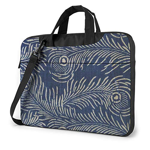 Laptop Shoulder Bag 14 inch, Peacock Feathers Pattern Business Briefcase Protective Bag Cover for Ultrabook, MacBook, Asus, Samsung, Sony, Notebook