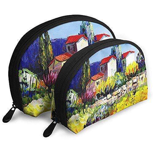 Ölgemälde Tragbare Taschen Make-up Kulturbeutel, Multifunktions Tragbare Reisetaschen Kleine Make-up Clutch Pouch mit Reißverschluss