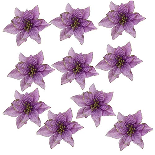 Glitter Colorful Flowers Chirstmas Poinsettia Decor Tree Violet 13 cm Ornaments Flocking New Year Wreaths 10pcs Houseware