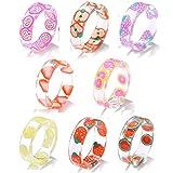 Quata 8pcs resina fruta anillos conjunto lindo transparente resina de plástico joyería para mujeres adolescente niña indie estética