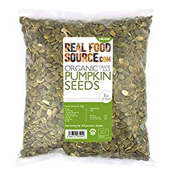 Organic AAA Grade (Highest Quality) Hulled Pumpkin Seeds Delicious Large, Crunchy, Dark Green Seeds with a Delightful Nutty Taste High in Fibre, Protein and Essential Fatty Acids Rich Source of Minerals including Iron, Zinc and Magnesium Great for Sa...